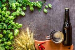 Cerveza de la botella y del vidrio con elaborar los ingredientes Flor del salto con trigo Visión superior Imagen de archivo