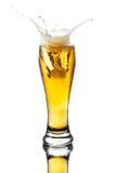 Cerveza del chapoteo en vidrio Foto de archivo