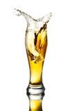 Cerveza del chapoteo en vidrio Fotos de archivo libres de regalías