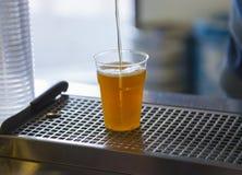 Cerveza del dibujo en una taza plástica Fotografía de archivo libre de regalías