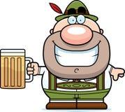 Cerveza del hombre de los Lederhosen de la historieta Foto de archivo