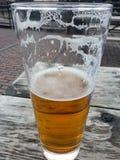 Cerveza en banco Fotos de archivo libres de regalías