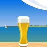 Cerveza en la playa ilustración del vector