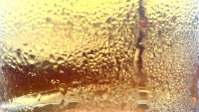 Cerveza en vidrio con el levantamiento de las burbujas almacen de video