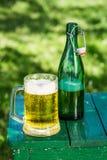 Cerveza fría en jardín Imagen de archivo libre de regalías