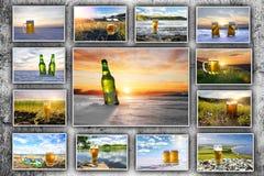Cerveza fría Fondo para hacer publicidad Imágenes de archivo libres de regalías