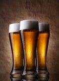 Cerveza fría tres Fotografía de archivo libre de regalías