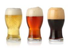 Cerveza fría tres, aislada imagen de archivo libre de regalías