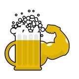 Cerveza fuerte Taza con los músculos grandes Alcohol potente Da el bodyb Imágenes de archivo libres de regalías