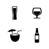 Cerveza Iconos relacionados simples del vector Imágenes de archivo libres de regalías