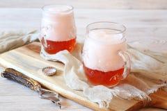 Cerveza ligera del arte de la fruta Imagen de archivo