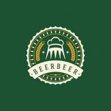 Cerveza Logo Design Element en estilo del vintage Foto de archivo