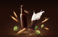 Cerveza oscura de la barbilla de Chin en la taza y la botella de cristal con el trigo y los saltos, bebida de restauración con la stock de ilustración