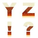 Cerveza oscura YZ del alfabeto Fotos de archivo libres de regalías