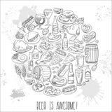 Cerveza y comida dibujadas mano Imagen de archivo libre de regalías