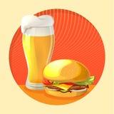 Cerveza y hamburguesa imagenes de archivo