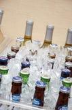 Cerveza y vino en el hielo para la recepción nupcial Fotografía de archivo libre de regalías