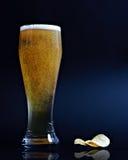 Cerveza y virutas Fotografía de archivo libre de regalías