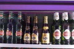 Cervezas en el refrigerador Fotografía de archivo