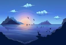 Cervi che stanno sulla roccia che esamina il isla della montagna del paesaggio Immagini Stock