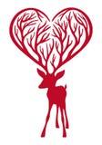 Cervi con i antlers del cuore Fotografia Stock