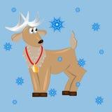 Cervi con natale di snowflakes.card Fotografia Stock