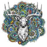 Cervi cornuti con l'ornamento colorato Fotografia Stock Libera da Diritti