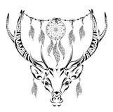 Cervi cornuti magici disegnati a mano per l'anti pagina adulta di coloritura di sforzo con gli alti dettagli isolati su fondo bia Fotografia Stock Libera da Diritti