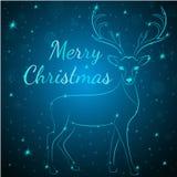 Cervi del blu di Buon Natale Immagine Stock