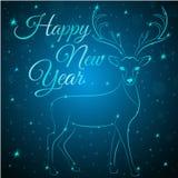 Cervi del blu di Buon Natale Fotografia Stock Libera da Diritti