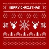 Cervi del pixel ed alberi di Natale sui precedenti bianchi Fotografia Stock