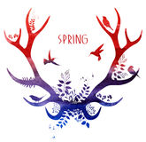 Cervi della primavera Siluetta dell'acquerello Illustrazione di vettore Fotografie Stock