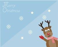 Cervi della redine nella carta di Buon Natale Fotografia Stock Libera da Diritti