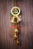 Cervi di Natale con la campana Fotografia Stock