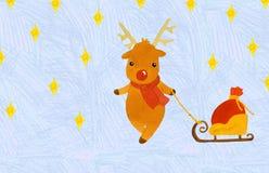 Cervi di Natale con una borsa dei regali su una slitta royalty illustrazione gratis