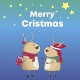 Cervi di Natale del fumetto Buon Natale del testo Scatola premiata Colore del blu animale, del fondo divertenti e svegli della st royalty illustrazione gratis