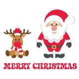 Cervi di natale del fumetto con il Babbo Natale con testo illustrazione di stock