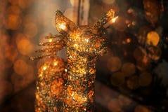 Cervi di Natale delle luci su un fondo scuro fotografia stock libera da diritti