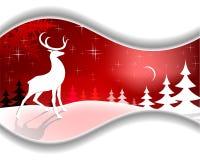 Cervi di Natale di progettazione con la luna illustrazione di stock