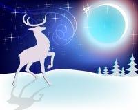 Cervi di Natale di progettazione con la luna fotografia stock libera da diritti