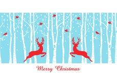 Cervi di Natale nella foresta dell'albero di betulla, vettore Immagini Stock Libere da Diritti