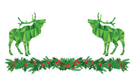 Cervi di Natale su agrifoglio Immagini Stock