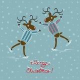Cervi di Natale sui pattini Fotografia Stock