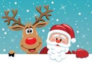 Cervi di Rudolph e del Babbo Natale Fotografia Stock Libera da Diritti