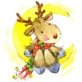 Cervi divertenti Santa Claus Illustrazione dell'acquerello Immagine Stock