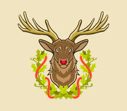 Cervi e corona di Natale illustrazione vettoriale