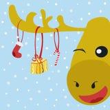 Cervi e presente felici illustrazione di stock