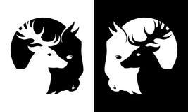 Cervi ed icona della siluetta tagliata bufalo illustrazione di stock