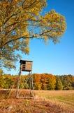 Cervi elevati di legno che cercano i ciechi fotografia stock