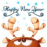Cervi pazzi e svegli Buon Natale, nuovo anno felice illustrazione vettoriale